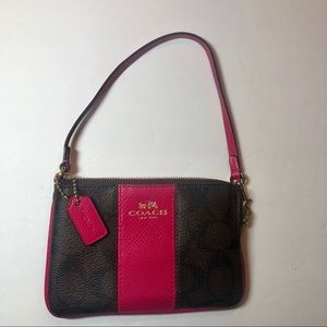 Coach Pink and Brown Wristlet